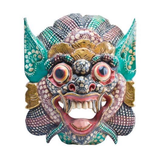 Stock Photo: 1598R-10004474 Close up of a Thai mask, isolated on white.