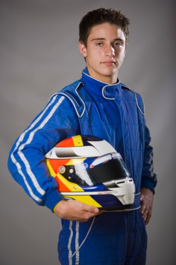 Motorized Sport, Auto Racing, Crash Helmet, Jumpsuit : Stock Photo
