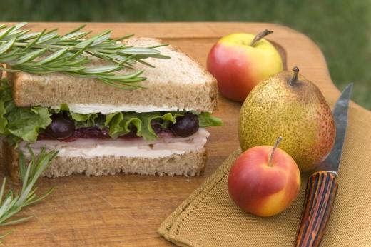 Stock Photo: 1598R-10004811 Turkey & Cranberry Sauce Sandwich
