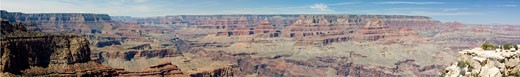 Panoramic 180 degree view of the Grand Canyon from Grand View observation point. Spring vegetation gives green hue to tops of mesas. Grand Canyon National Park, Arizona, USA. UNESCO World Heritage Site and one of the modern Seven Wonders of the World. : Stock Photo