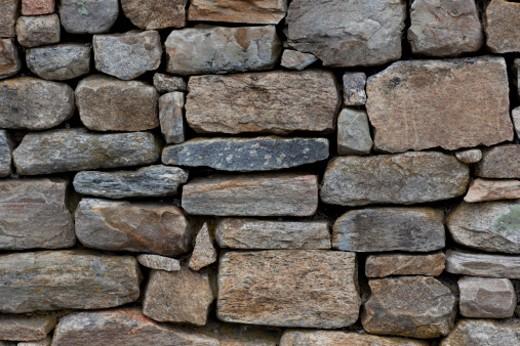 Neatly stacked stone wall. : Stock Photo