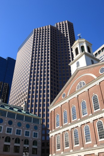 Historic Faneuil Hall against modern Boston skyscrapers. : Stock Photo