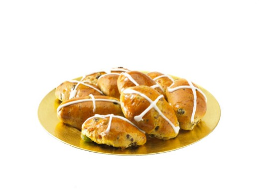 Hot cross buns, studio shot : Stock Photo