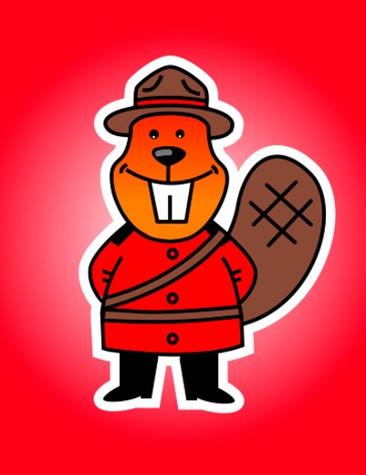 Stock Photo: 1598R-10009759 Beaver dressed as Canadian mounty