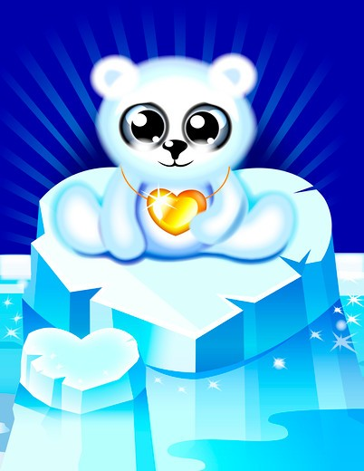 Stock Photo: 1598R-10009772 Arctic Kitty with Gold Heart