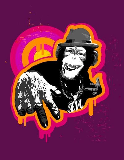 Monkey wearing fedora and gesturing : Stock Photo