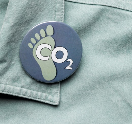 Stock Photo: 1598R-10010073 CO2 and footprint button on collar, close-up