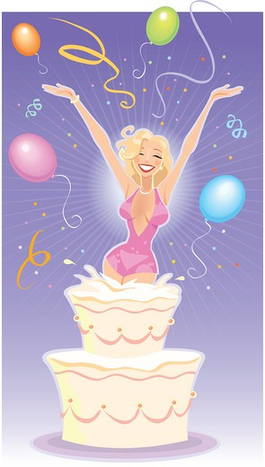 Woman jumping out of birthday cake : Stock Photo