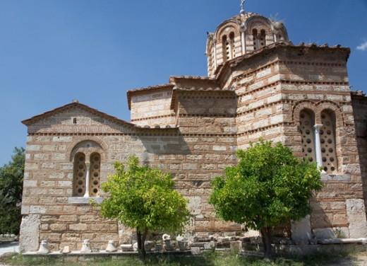 Greece, Athens, Byzantine Church of Holy Apostles : Stock Photo