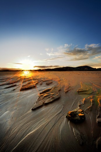 beach at southerness in kircubrightshire,southe west scotland at sunset : Stock Photo