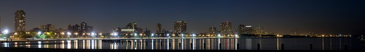 Stock Photo: 1598R-10012331 Panoramic view of Chicago's North Avenue Beach at night.