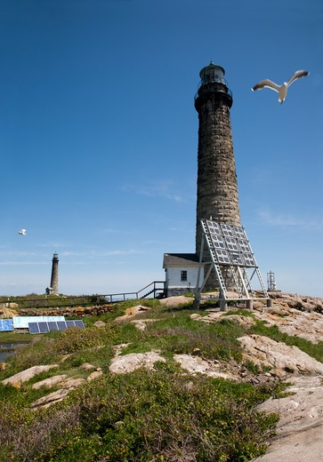 Stock Photo: 1598R-10012636 The twin lighthouses of Thacher Island, off the coast of Cape Ann, Massachusetts.