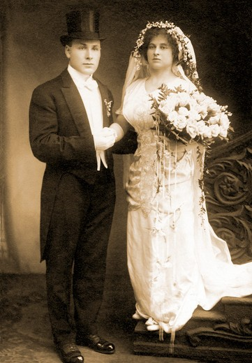 Stock Photo: 1598R-10012680 Sepia toned wedding portrait of couple in the early nineteenth century.
