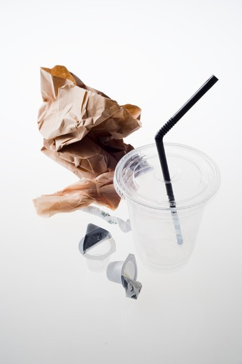 The trash from a cup of coffee : Stock Photo