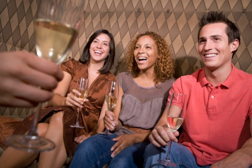 Young Women and Men Drinking Champagne : Stock Photo