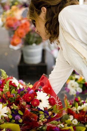 Women shopping for flowers : Stock Photo