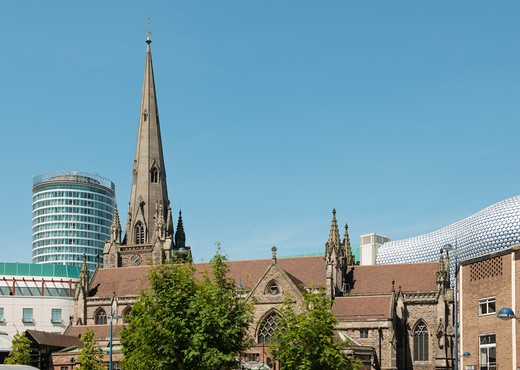 Birmingham Skyline - the Bullring shopping centre with the Rotunda, St Martin's church and Selfridge's store : Stock Photo