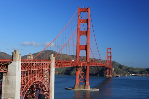 The Golden Gate Bridge was completed in 1937.  It has since become an iconic landmark for both San Francisco and California. : Stock Photo