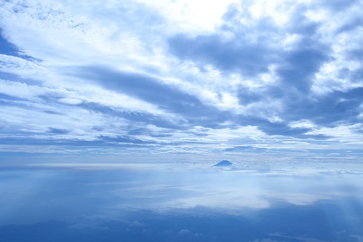 View of Mt.Fuji from the sky.  : Stock Photo