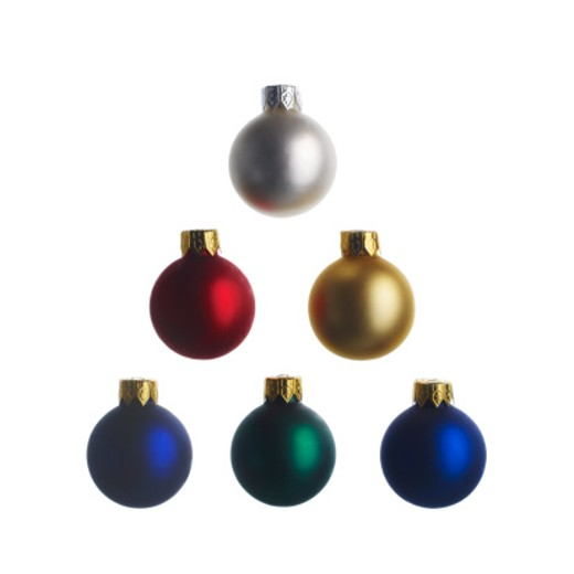 Stock Photo: 1598R-10015855 Christmas colorful ornament ball on white back