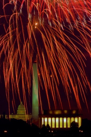 Fireworks over the Lincoln Memorial, Washington Monument and Capital building. : Stock Photo