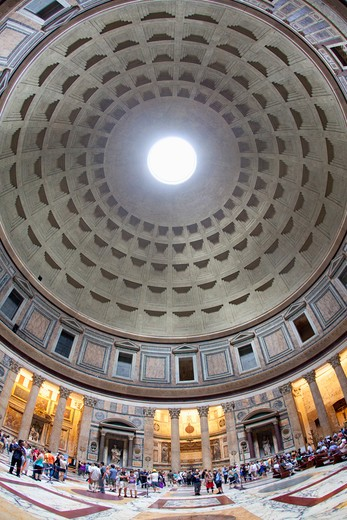 Interior wide view of Pantheon with visitors : Stock Photo