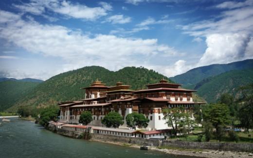 Punakha Dzong Monastery in Bhutan : Stock Photo