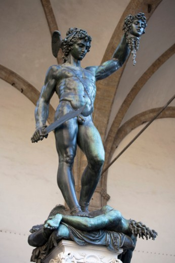 Genre: Sculpture, Period/Style: High Renaissance, Location: Loggia dei Lanzi Florence : Stock Photo
