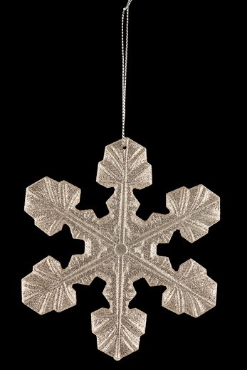 Silver Glitter Snowflake Holiday Christmas Ornament on Black in studio : Stock Photo