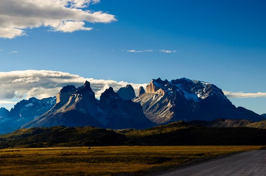 Stock Photo: 1598R-10020104 The Cordillera del Paine is a small but spectacular mountain group in Torres del Paine National Park in Chilean Patagonia.