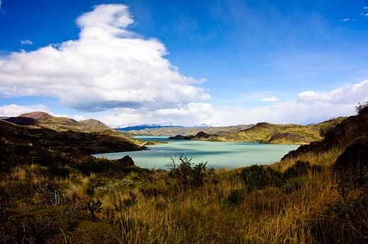 Pehoe Lake is a surface water body located in Torres del Paine National Park, in the Magallanes Region of southern Chile. The lake is fed mainly by Paine River, but it also receives the waters of the outlet of Skottsberg Lake. : Stock Photo