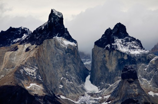 The Cordillera del Paine is a small but spectacular mountain group in Torres del Paine National Park in Chilean Patagonia. : Stock Photo