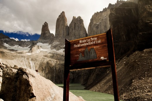 The Cordillera del Paine is a small but spectacular mountain group in Torres del Paine National Park in Chilean Patagonia.  This is the end of the road to the base of the towers in the 'Torres del Paine' national park. The three granite towers is the ultimate landscape in the park. : Stock Photo