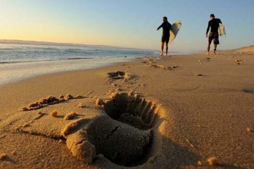 Footprint on the beach of surfers walking on the seaside at sunset : Stock Photo