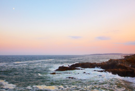 Portland Head and view to Atlantic Ocean : Stock Photo