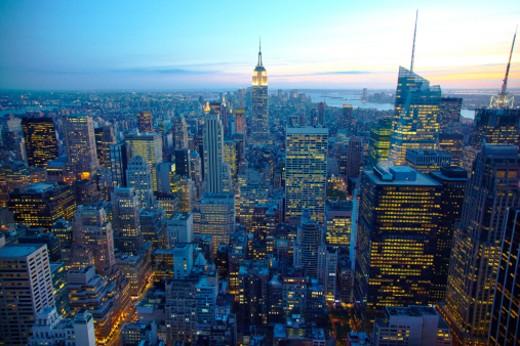 Stock Photo: 1598R-10021593 NYC Skyline at dusk