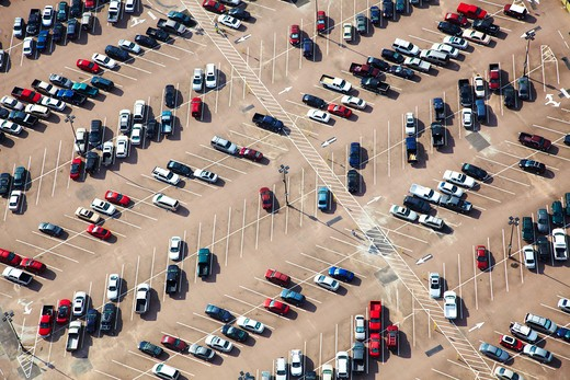 Stock Photo: 1598R-10021660 Aerial view of parking lot