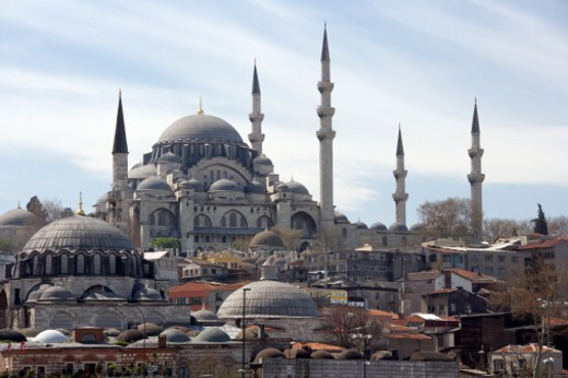 Stock Photo: 1598R-10022337 The Yeni Mosque or New Mosque in Istanbul. It is an Ottoman imperial mosque located in the Eminonu district of Istanbul. It is situated on the Golden Horn at the southern end of the Galata Bridge.