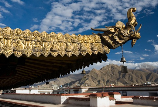 Roof detail on the Jokhang Temple in Lhasa in the Tibet Autonomous region of China : Stock Photo
