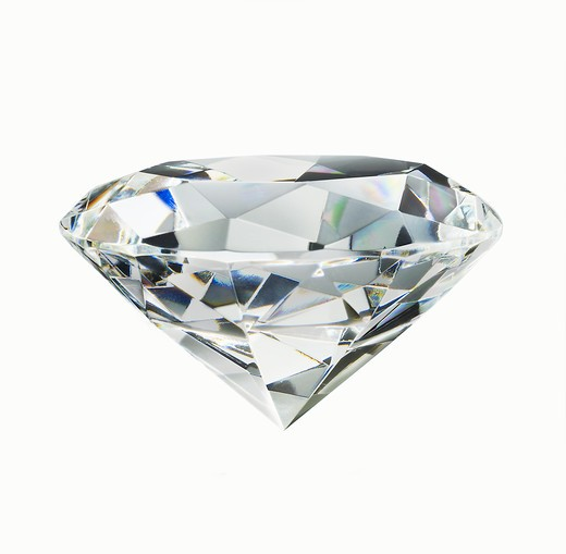 Stock Photo: 1598R-10022604 A diamond on white