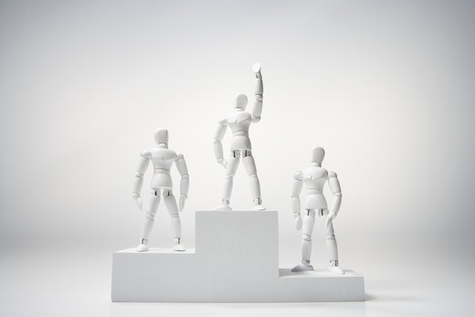 Stock Photo: 1598R-10024133 wooden lay figure, mannequin, raise a hand