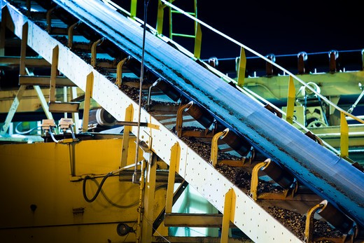 Conveyor belts at a gravel crushing and concrete factory : Stock Photo
