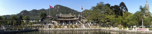 Stock Photo: 1598R-10026004 Panoramic view of the Nanputuo Buddist Temple.