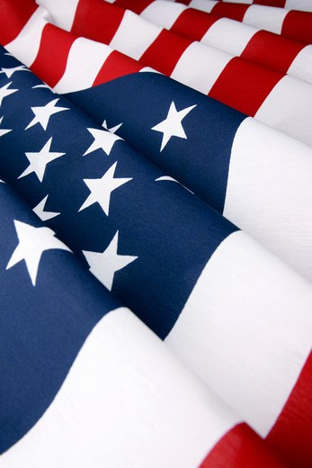 Stock Photo: 1598R-10026536 Close up of a brand new American Flag.