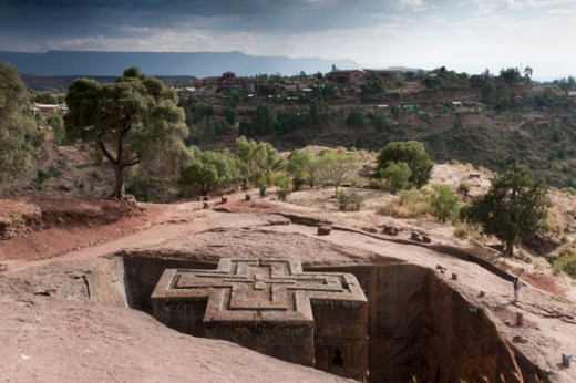 Stock Photo: 1598R-10026980 Bete Giyorgis (St George's Church) was carved into stone; no bricks were used. A trench was cut around a block. From that block the church was carved. The church was built in the 12th century by request of King Lalibela