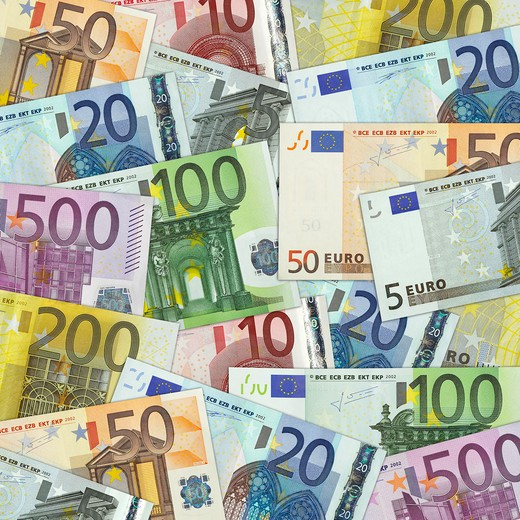 Stock Photo: 1598R-10027035 Euro banknotes photographed as a background. The frame of the photograph is square and the theme is full frame