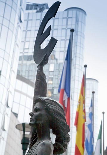 Euro statue, EU Parliament, Belgium, Brussels : Stock Photo