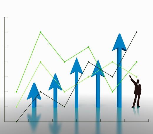 Line graph and an upward arrow : Stock Photo