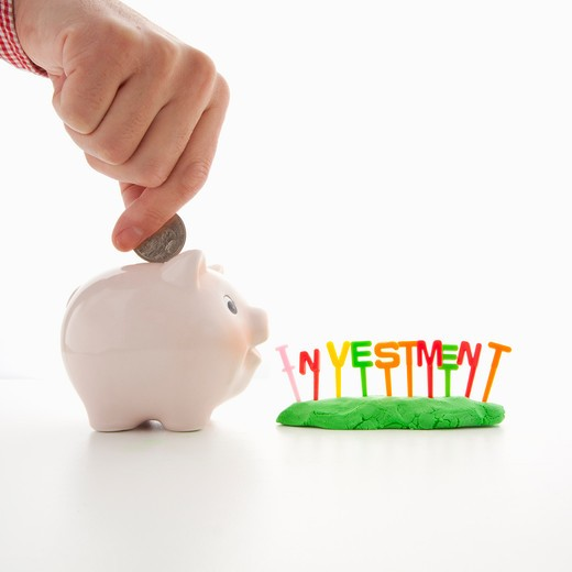 Stock Photo: 1598R-10029471 Piggy bank and ?INVESTMENT?.