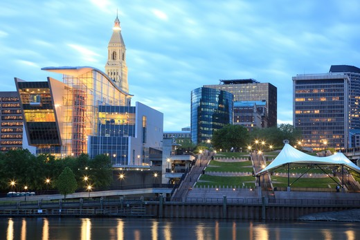 Hartford, Connecticut riverfront and the Connecticut Science  : Stock Photo